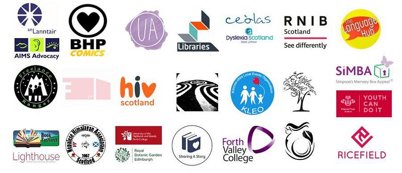 Image of all the Book Week Scotland partner logos