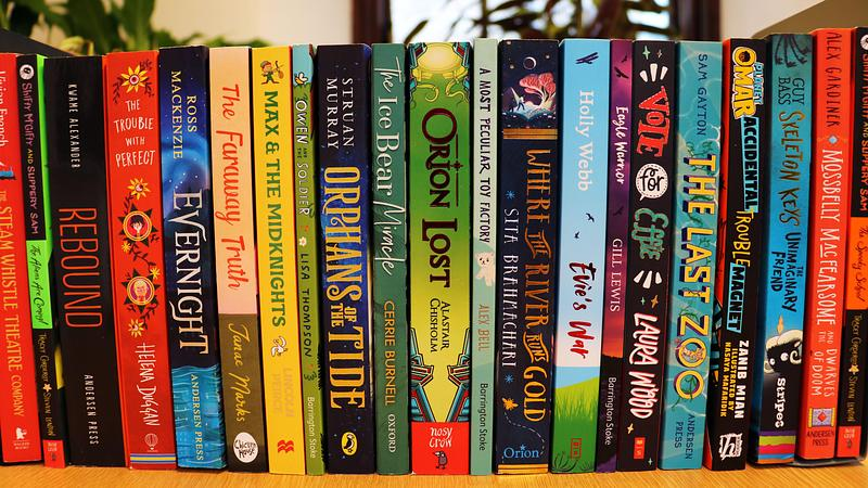 A shelf of children's books
