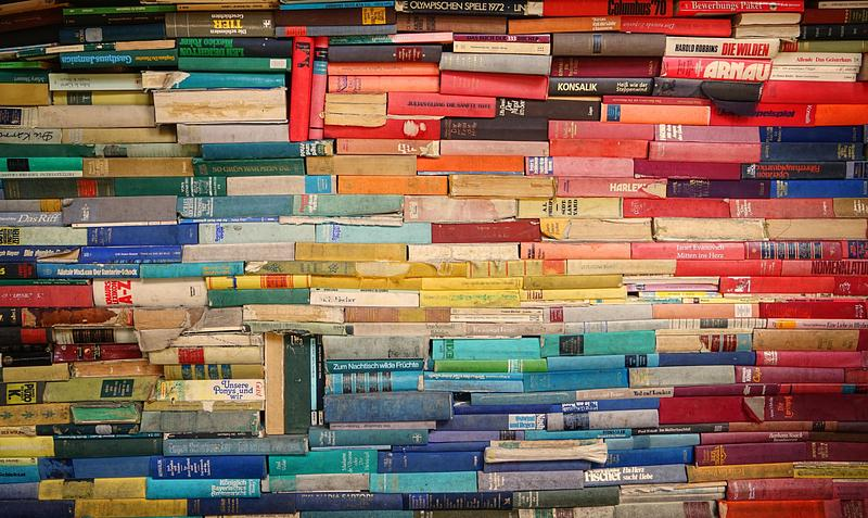 Colourful stack of books