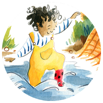Illustration of child playing in water