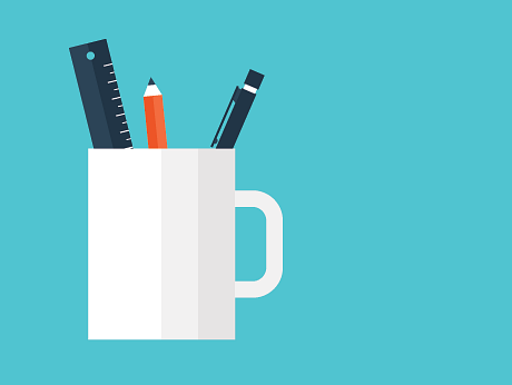 Illustration of a pen, pencil and ruler in a mug