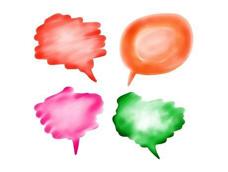 Four coloured illustrated speech bubbles